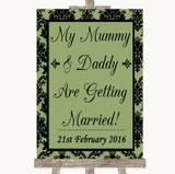 Sage Green Damask Mummy Daddy Getting Married Customised Wedding Sign