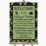 Sage Green Damask No Phone Camera Unplugged Customised Wedding Sign