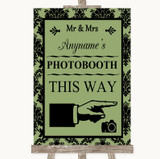 Sage Green Damask Photobooth This Way Right Customised Wedding Sign