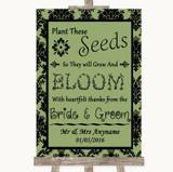 Sage Green Damask Plant Seeds Favours Customised Wedding Sign
