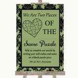 Sage Green Damask Puzzle Piece Guest Book Customised Wedding Sign