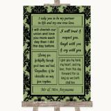 Sage Green Damask Romantic Vows Customised Wedding Sign