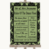 Sage Green Damask Rules Of The Dancefloor Customised Wedding Sign