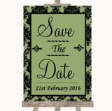 Sage Green Damask Save The Date Customised Wedding Sign