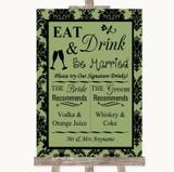Sage Green Damask Signature Favourite Drinks Customised Wedding Sign