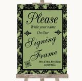 Sage Green Damask Signing Frame Guestbook Customised Wedding Sign