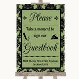 Sage Green Damask Take A Moment To Sign Our Guest Book Customised Wedding Sign