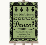 Sage Green Damask Toiletries Comfort Basket Customised Wedding Sign