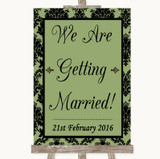 Sage Green Damask We Are Getting Married Customised Wedding Sign