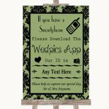 Sage Green Damask Wedpics App Photos Customised Wedding Sign