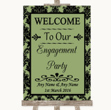 Sage Green Damask Welcome To Our Engagement Party Customised Wedding Sign