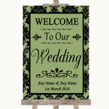 Sage Green Damask Welcome To Our Wedding Customised Wedding Sign