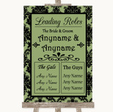 Sage Green Damask Who's Who Leading Roles Customised Wedding Sign