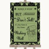 Sage Green Damask Wishing Well Message Customised Wedding Sign