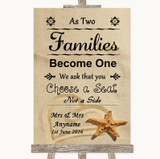 Sandy Beach As Families Become One Seating Plan Customised Wedding Sign