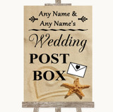 Sandy Beach Card Post Box Customised Wedding Sign