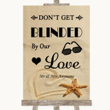 Sandy Beach Don't Be Blinded Sunglasses Customised Wedding Sign