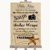 Sandy Beach Don't Post Photos Facebook Customised Wedding Sign