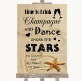 Sandy Beach Drink Champagne Dance Stars Customised Wedding Sign
