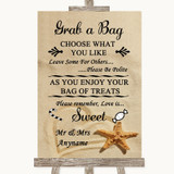 Sandy Beach Grab A Bag Candy Buffet Cart Sweets Customised Wedding Sign