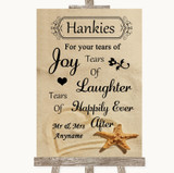 Sandy Beach Hankies And Tissues Customised Wedding Sign