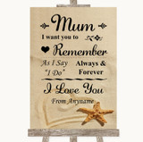 Sandy Beach I Love You Message For Mum Customised Wedding Sign