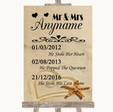 Sandy Beach Important Special Dates Customised Wedding Sign