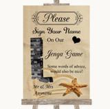 Sandy Beach Jenga Guest Book Customised Wedding Sign