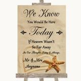 Sandy Beach Loved Ones In Heaven Customised Wedding Sign