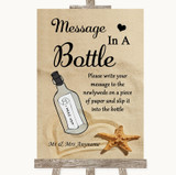 Sandy Beach Message In A Bottle Customised Wedding Sign