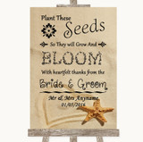 Sandy Beach Plant Seeds Favours Customised Wedding Sign