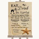 Sandy Beach Signature Favourite Drinks Customised Wedding Sign