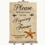 Sandy Beach Signing Frame Guestbook Customised Wedding Sign