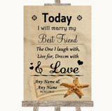 Sandy Beach Today I Marry My Best Friend Customised Wedding Sign