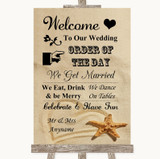 Sandy Beach Welcome Order Of The Day Customised Wedding Sign