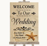 Sandy Beach Welcome To Our Wedding Customised Wedding Sign