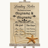 Sandy Beach Who's Who Leading Roles Customised Wedding Sign