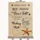 Sandy Beach Wishing Well Message Customised Wedding Sign
