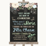 Shabby Chic Chalk Cheesecake Cheese Song Customised Wedding Sign
