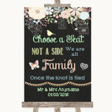 Shabby Chic Chalk Choose A Seat We Are All Family Customised Wedding Sign