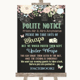 Shabby Chic Chalk Don't Post Photos Facebook Customised Wedding Sign