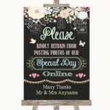 Shabby Chic Chalk Don't Post Photos Online Social Media Wedding Sign