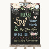 Shabby Chic Chalk Fingerprint Tree Instructions Customised Wedding Sign