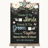 Shabby Chic Chalk Friends Of The Bride Groom Seating Customised Wedding Sign