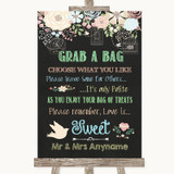 Shabby Chic Chalk Grab A Bag Candy Buffet Cart Sweets Customised Wedding Sign