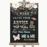 Shabby Chic Chalk Guestbook Advice & Wishes Gay Customised Wedding Sign