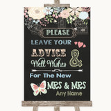 Shabby Chic Chalk Guestbook Advice & Wishes Lesbian Customised Wedding Sign