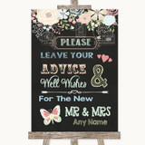 Shabby Chic Chalk Guestbook Advice & Wishes Mr & Mrs Customised Wedding Sign