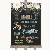 Shabby Chic Chalk Hankies And Tissues Customised Wedding Sign