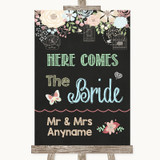 Shabby Chic Chalk Here Comes Bride Aisle Sign Customised Wedding Sign